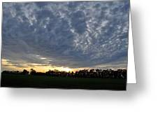Sunset Over Farm And Trees - Distant View Greeting Card