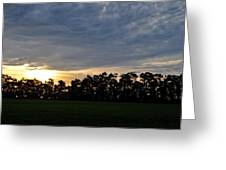 Sunset Over Farm And Trees Greeting Card