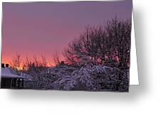 Sunset Over Fresh Snow Greeting Card