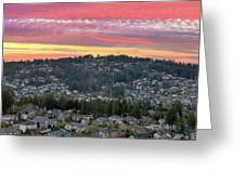 Sunset Over Happy Valley Residential Neighborhood Greeting Card