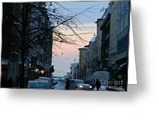 Sunset Over Helsinki Greeting Card