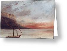 Sunset Over Lake Leman Greeting Card by Gustave Courbet