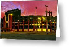 Sunset Over Lambeau Field Greeting Card