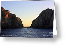 Sunset Over Lovers Beach Greeting Card