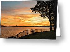 Sunset Over Lynch Park Beverly Ma Water Tower Greeting Card