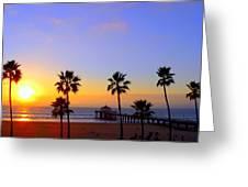 Sunset Over Manhattan Beach Greeting Card