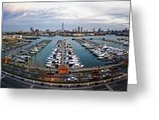 Sunset Over Marina Greeting Card