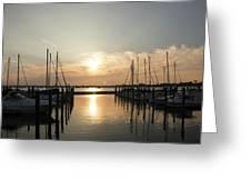 Sunset Over Marina  Greeting Card