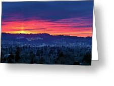 Sunset Over Marquam Hill Greeting Card