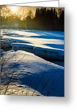 Sunset Over Melting Ice Greeting Card