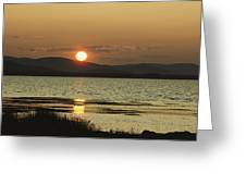 Sunset Over Mountains And Water Greeting Card