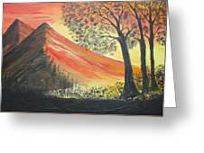 Sunset Over Mountains Greeting Card