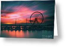 Sunset Over National Harbor Ferris Wheel Greeting Card