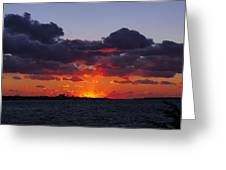 Sunset Over North Meadow Island Greeting Card