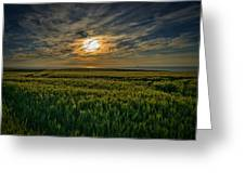 Sunset Over North Pas De Calais In France Greeting Card