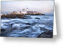 Sunset Over Nubble Light Greeting Card by Eric Gendron