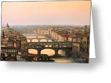 Sunset Over Ponte Vecchio In Florence Greeting Card