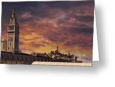 Sunset Over Port Of San Francisco Ferry Building Greeting Card