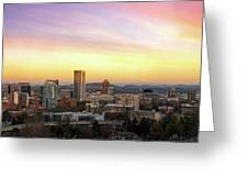 Sunset Over Portland Cityscape And Mt Hood Greeting Card