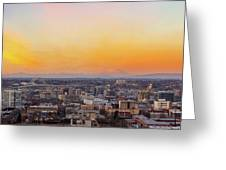 Sunset Over Portland Cityscape And Mt Saint Helens Greeting Card