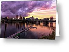 Sunset Over Portland Oregon Downtown Waterfront Greeting Card