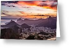 Sunset Over Rio De Janeiro  Greeting Card