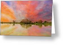 Sunset Over Sauvie Island Greeting Card