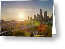 Sunset Over Seattle Downtown Skyline Greeting Card