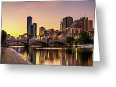 Sunset Over Skyscrapers Of Melbourne Downtown And Princes Bridge Greeting Card