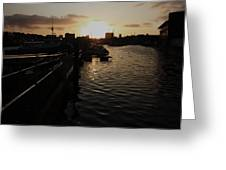 Sunset Over Sutton Harbour Plymouth Greeting Card