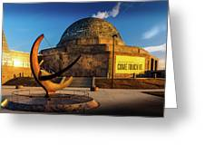 Sunset Over The Adler Planetarium Chicago Greeting Card
