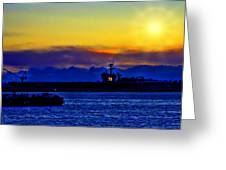 Sunset Over The Carl Vinson Greeting Card