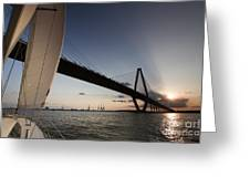Sunset Over The Cooper River Bridge Charleston Sc Greeting Card