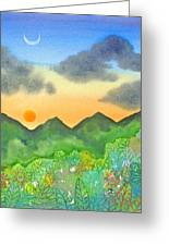 Sunset Over The Forest- Cloaked Mountains Greeting Card