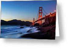 Sunset Over The Golden Gate Bridge Greeting Card