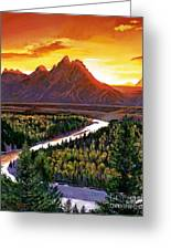 Sunset Over The Grand Tetons Greeting Card