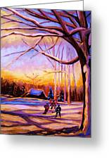 Sunset Over The Hockey Game Greeting Card
