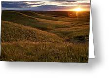 Sunset Over The Kansas Prairie Greeting Card by Jim Richardson