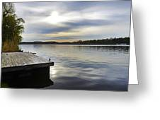 Sunset Over The Lake. Greeting Card