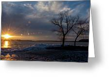 Sunset Over The Mississippi In Wisconsin Greeting Card