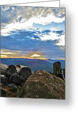 Sunset Over The Mountain Range Greeting Card