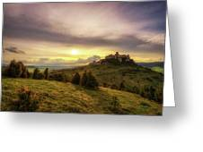 Sunset Over The Ruins Of Spis Castle In Slovakia Greeting Card