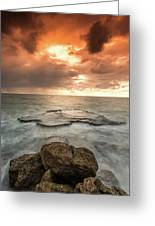 Sunset Over The Sea In Israel Greeting Card