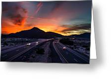 Sunset Over The Soda Mountains Greeting Card