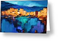 Sunset Over The Village 3 By Elise Palmigiani Greeting Card