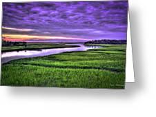 Sunset Over Turners Creek Savannah Tybee Island Ga Greeting Card