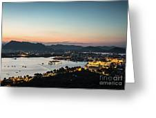 Sunset Over Udaipur In India Greeting Card