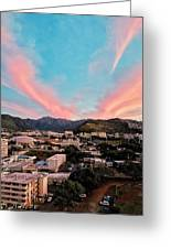 Sunset Over Uh Manoa Greeting Card