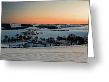 Sunset Over Winter Landscape Greeting Card