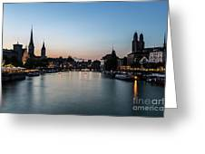 Sunset Over Zurich Greeting Card
